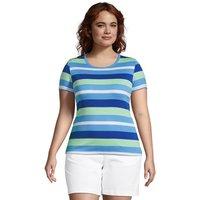 Stripe Cotton Rib Crew Neck T-shirt, Women, Size: 20-22 Plus, Green, by Lands' End