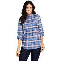 Pintucked Brushed Cotton Tunic, Women, Size: 18 Regular, Blue, by Lands' End