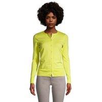Supima Cotton Cardigan, Women, Size: 14-16 Regular, Yellow, by Lands' End
