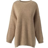 3-quarter Shaker Crew Neck Jumper, Brown