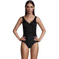Wrap Front Slender Swimsuit - DD Cup, Women, Size: 18 Regular, Black, Nylon-blend, by Lands' End