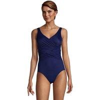 Wrap Front Slender Swimsuit - DDD Cup, Women, Size: 14-16 Regular, Blue, Nylon-blend, by Lands' End
