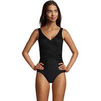 Wrap Front Slender Swimsuit - DD Cup, Women, Size: 16 Regular, Black, Nylon-blend, by Lands' End