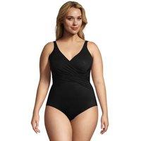 Slender Wrap Front Swimsuit, Women, Size: 26 Plus, Black, Nylon-blend, by Lands' End