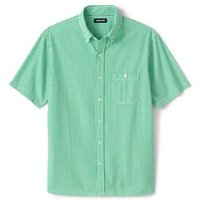 Short Sleeve Seersucker Cotton Shirt, Men, Size: 50-52 Regular, Green, by Lands' End