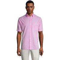Short Sleeve Seersucker Cotton Shirt, Men, Size: 42-44 Regular, Pink, by Lands' End