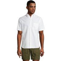 Short Sleeve Seersucker Cotton Shirt, Men, Size: 46-48 Regular, White, by Lands' End