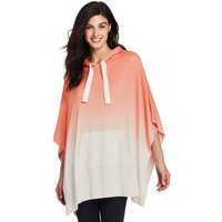 French Terry Hooded Dip-dye Poncho, Orange