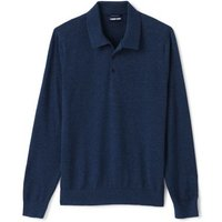 Supima Cotton Polo Shirt, Men, Size: 34 - 36 Regular, Blue, by Lands'End, Navy Heather
