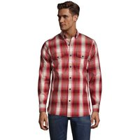 All-season Flannel Shirt, Men, Size: 38-40 Regular, Red, Cotton, by Lands' End