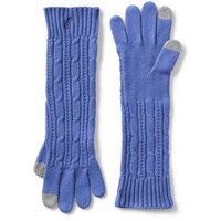 Long Cable Knit Gloves, Blue
