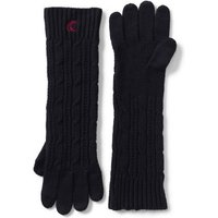 Long Cable Knit Gloves, Black