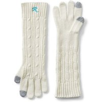 Long Cable Knit Gloves, Ivory