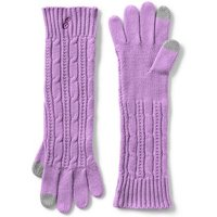 Long Cable Knit Gloves, Purple