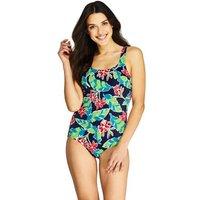 Print Tugless Swimsuit, Women, Size: 12 Regular, Blue, Nylon-blend, by Lands' End