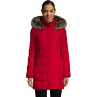 Hooded Down Coat, Women, Size: 20 Regular, Red, by Lands' End