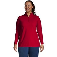Half Zip Fleece Top, Women, Size: 28-30 Plus, Red, Polyester, by Lands' End