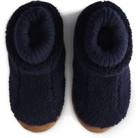 Sherpa Fleece Bootie Slippers, Kids, Size: 4 Toddler, Blue, Polyester, by Lands' End.