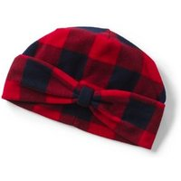 Fleece Patterned Bow Beanie Hat, Red