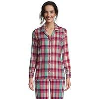 Plaid Flannel Pyjama Top, Women, Size: 20 Regular, Pink, Cotton, by Lands' End