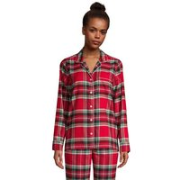 Plaid Flannel Pyjama Top, Women, Size: 10 -12 Petite, Red, Cotton, by Lands'End, Rich Red Traditiona