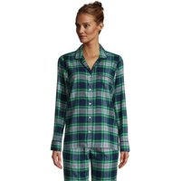 Plaid Flannel Pyjama Top, Women, Size: 14-16 Regular, Blue, Cotton, by Lands' End