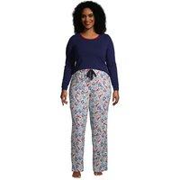Cotton Rich Jersey Pyjama Set, Women, Size: 20-22 Plus, Ivory, by Lands' End