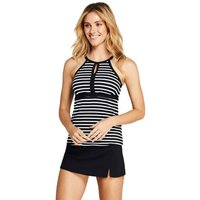 Beach Living Print Keyhole Tankini Top Black