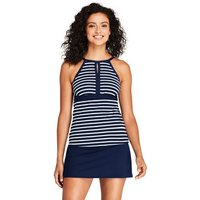 Beach Living Keyhole Tankini Top, Women, Size: 14-16 Regular, Blue, Nylon-blend, by Lands' End