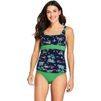 Beach Living Square Neck Tankini Top, Women, Size: 14 Regular, Green, Nylon-blend, by Lands' End