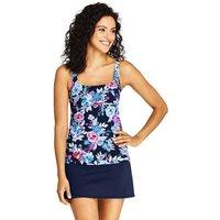 Long Torso Beach Living Square Neck Tankini Top, Print, Women, Size: 10 Long, Blue, Nylon-blend, by