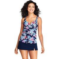 Beach Living Wrap Tankini Top, Print, Women, Size: 14 Regular, Blue, Nylon-blend, by Lands'End, Deep