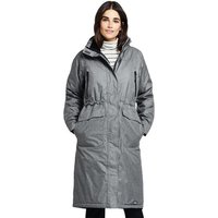 Heathered Squall Stadium Coat, Women, Size: 16-18 Regular, Grey, Polyester, by Lands' End