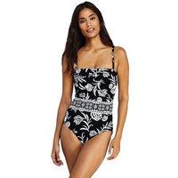 Print Bandeau Perfect Swimsuit, Women, Size: 14-16 Regular, Black, Nylon-blend, by Lands' End