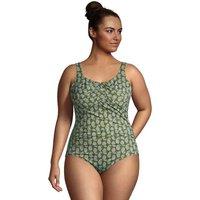 Carmela Slender Swimsuit, Print, Women, Size: 20 Plus, Green, Nylon-blend, by Lands' End