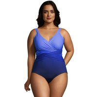 Slender Ombre Wrap Front Swimsuit, Women, Size: 20 Plus, Blue, Nylon-blend, by Lands' End