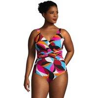 Slender Ombre Wrap Front Swimsuit, Women, Size: 20 Plus, Black, Nylon-blend, by Lands' End