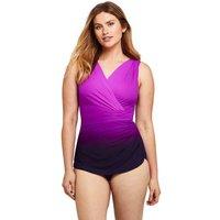 Wrap Front Tunic Slender Swimsuit, Pattern, Women, Size: 12 Regular, Purple, Nylon-blend, by Lands'