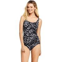 Carmela Slender Swimsuit, Print, Women, Size: 10 Regular, Black, Nylon-blend, by Lands' End