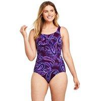 Carmela Slender Swimsuit, Print, Women, Size: 14 Regular, Purple, Nylon-blend, by Lands' End