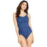 Long Torso Carmela Slender Swimsuit, Print, Women, Size: 10 Long, Blue, Nylon-blend, by Lands' End