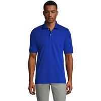 Stretch Pique Polo Shirt, Traditional Fit, Men, Size: 46-48 Regular, Blue, Cotton-blend, by Lands' E