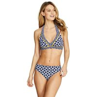 Beach Living Print Halter Neck Bikini Top Blue