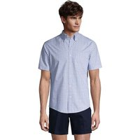 Short Sleeve Cotton Shirt, Men, Size: 38-40 Regular, Blue, by Lands' End