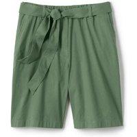 Tie Waist Stretch Linen Mix Shorts, Women, Size: 14 Regular, Green, by Lands' End
