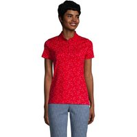 Short Sleeve Supima Polo Shirt, Women, Size: 10-12 Regular, Red, Cotton, by Lands' End