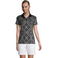 Short Sleeve Supima Polo Shirt, Women, Size: 20 Regular, Black, Cotton, by Lands' End