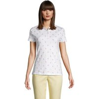 Short Sleeve Supima Polo Shirt, Women, Size: 20 Regular, White, Cotton, by Lands' End