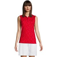 Sleeveless Polo Shirt in Supima Cotton, Women, Size: 8 Regular, Red, by Lands' End