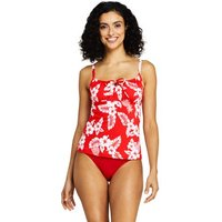 Beach Living Print Tie Front Tankini Top Red